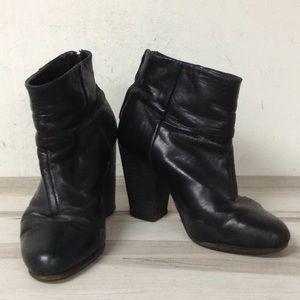 Rag & Bone Black Leather Heeled Bootie 8